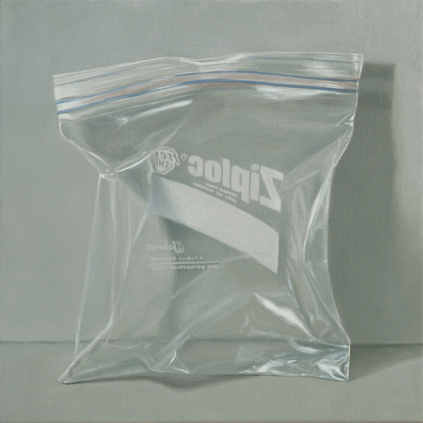 "Ziploc  oil on canvas   12"" x 12"""