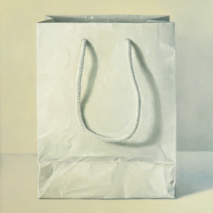"White Gift Bag  oil on linen    12"" x 12"""