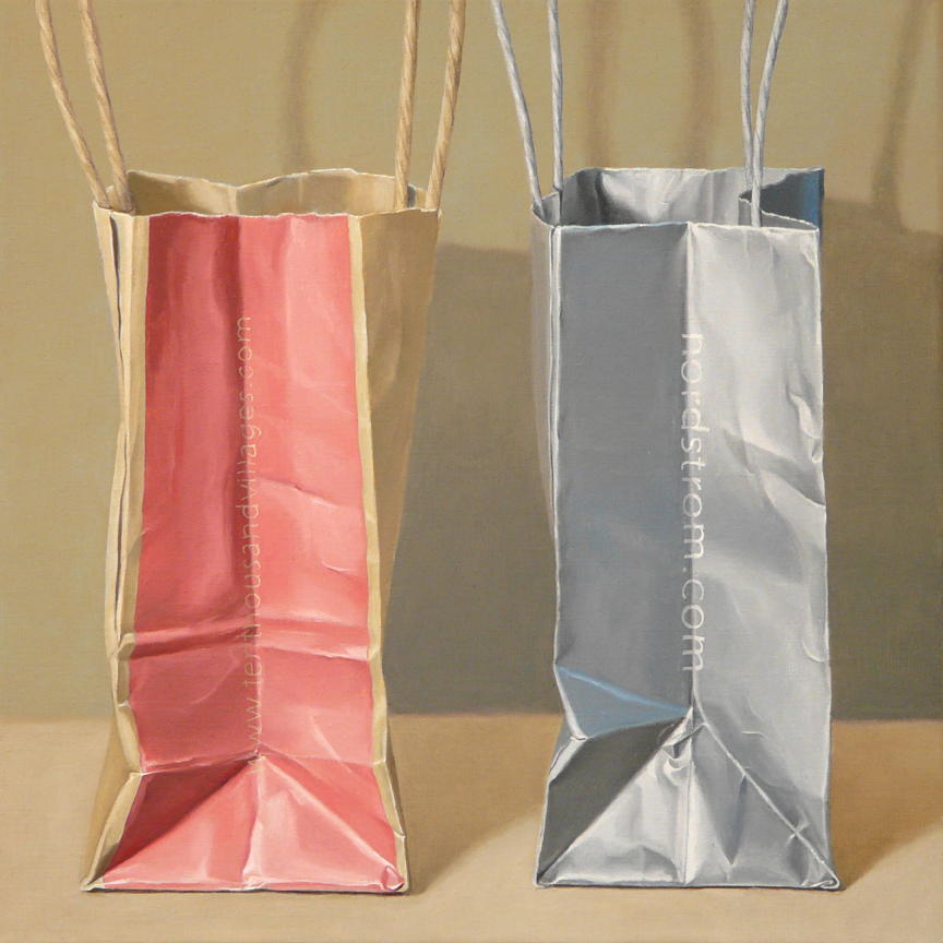 "Pair of Bags  oil on linen    16"" x 16"""