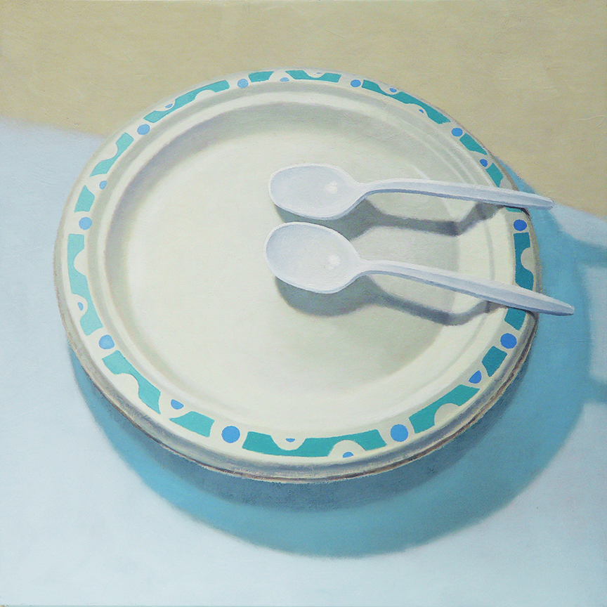 "Paper Plate With Two Plastic Spoons  oil on panel    12"" x 12"""