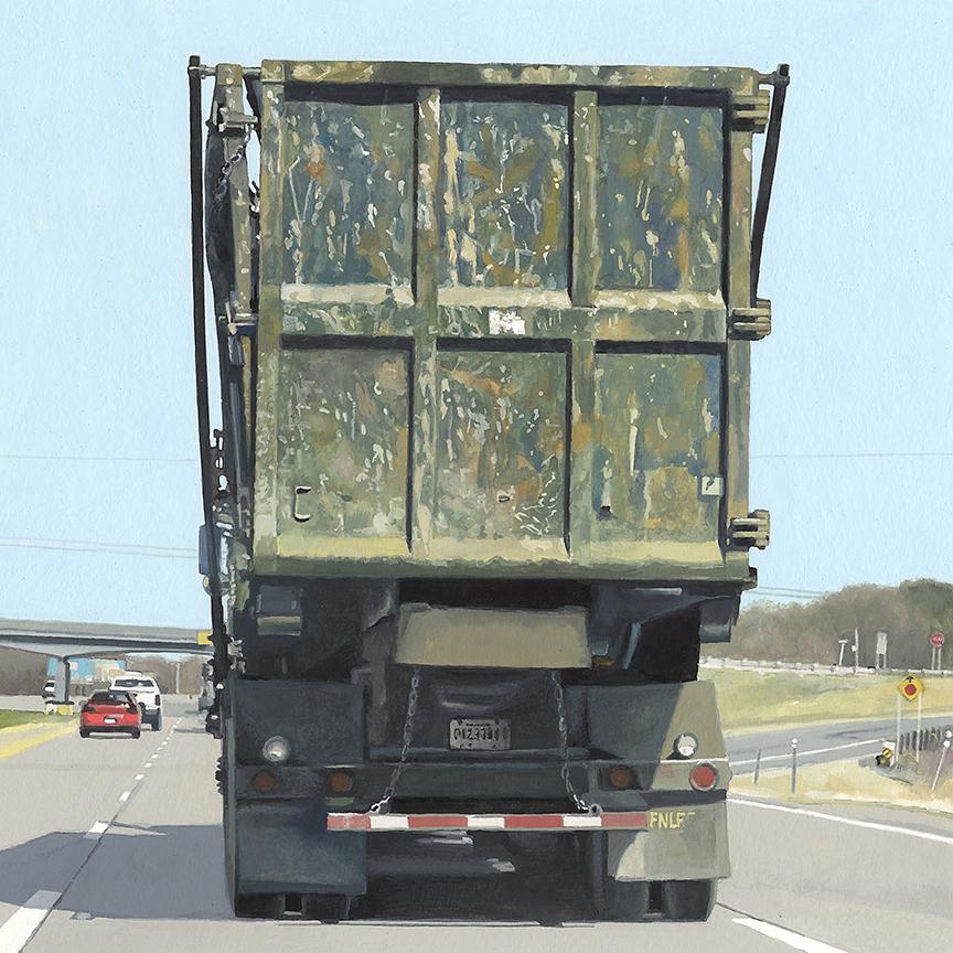 """Dump Truck  gouache on paper   9"""" x 9"""""""