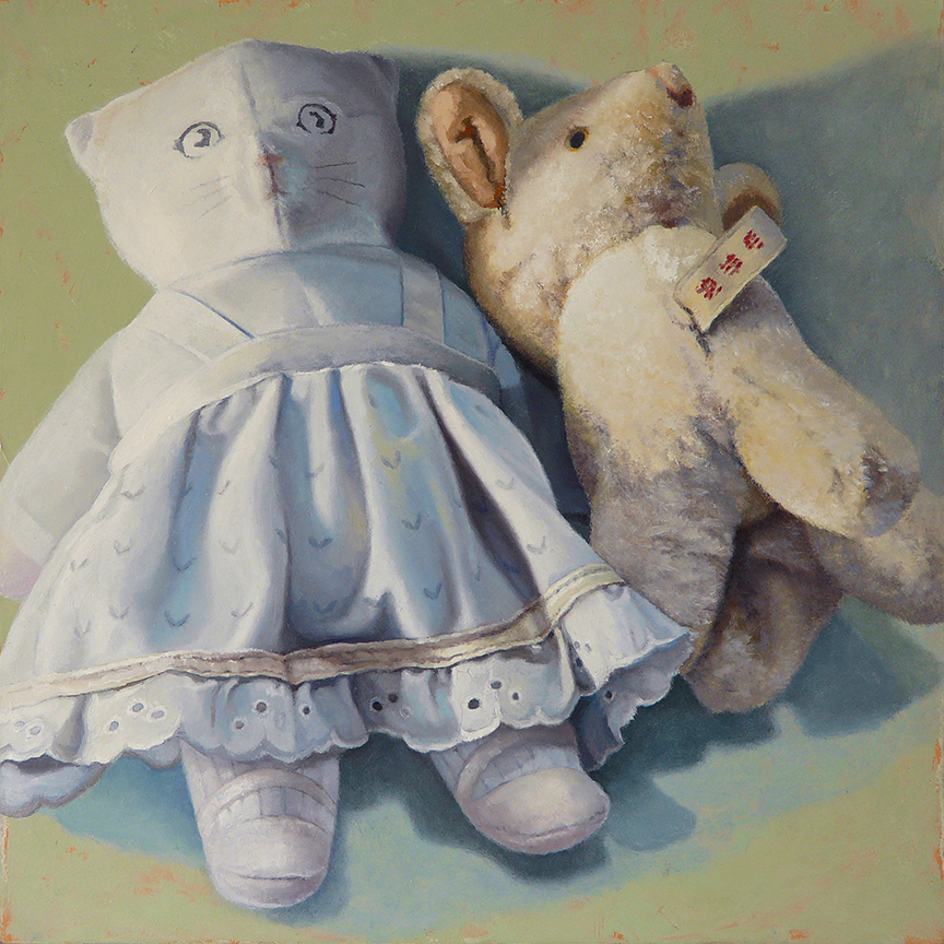 "Nursery Buddies  oil on panel  12"" x 12"""