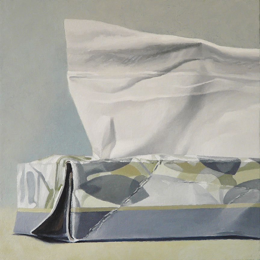 "Tissue Box - Gray Floral  oil on panel  12"" x 12"""