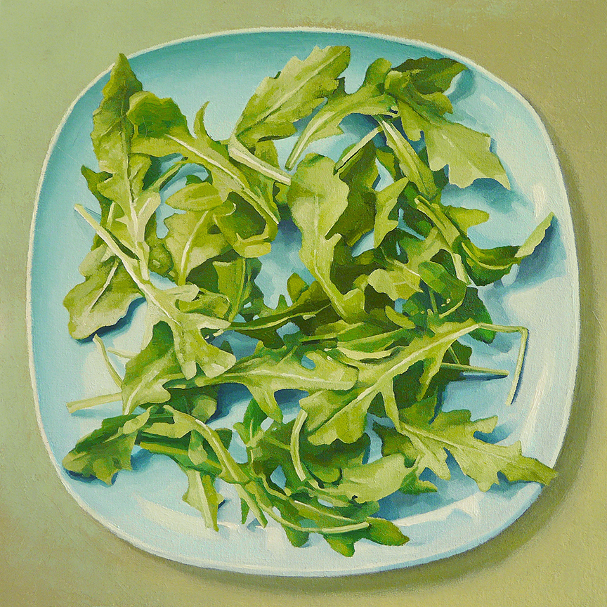 "Arugula  oil on panel  12"" x 12"""