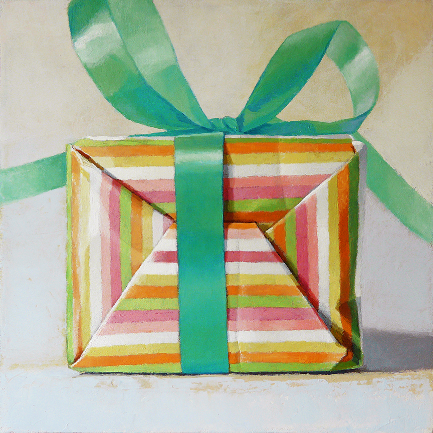 "Striped Box  oil on panel  12"" x 12"""
