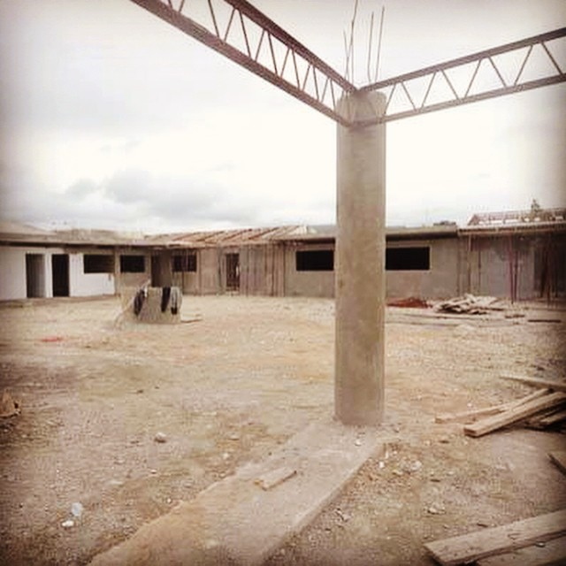 Construction is coming right along for the new Wings of Hope in #Jacmel with the roof and walls near completion. Photo Copyright St. Joseph Family 2014
