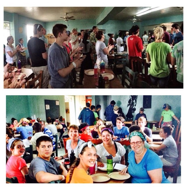 "Bonjou from Trinity House! After a rousing rendition of ""Sa se yon jou"" we are enjoying a delicious #local breakfast of mangoes and homemade cinnamon rolls from the Nouvo Vi Bakery (a ministry of the St. Joseph Family, an HTF partner). So nourished, we will have a great day of camp planning!"