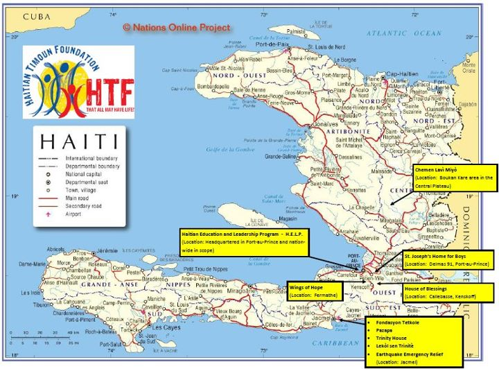 This photo provides a basic visual for where HTF works.  Keep checking back to learn more about our partners.  You can also find us on Facebook (Haitian Timoun Foundation) and Twitter (@HaitianTimoun).