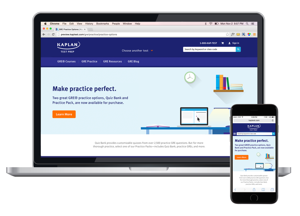 Kaplan's GRE quiz bank and practice pack launch. View the page here.