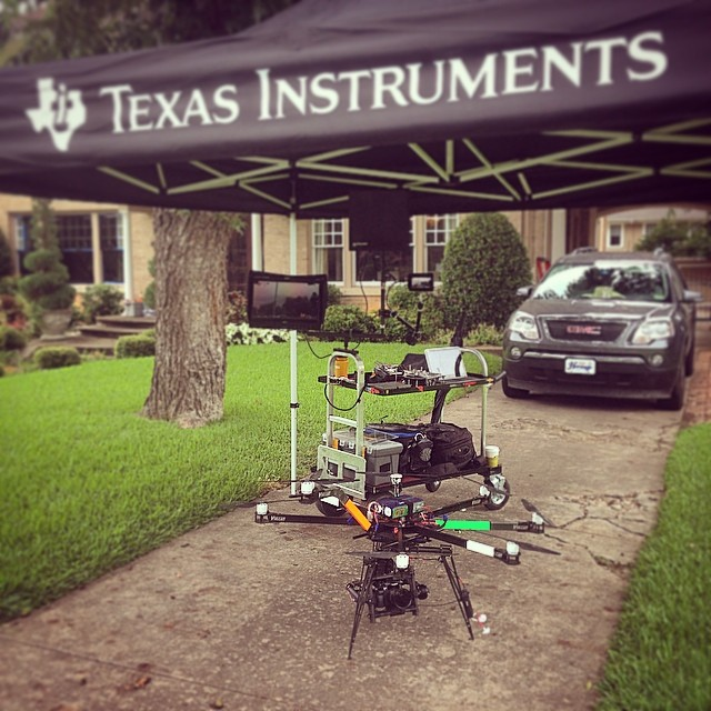 On location for Texas Instruments with the Vulcan Heavy-lift Octocopter, Panasonic GH4 and custom ground station.