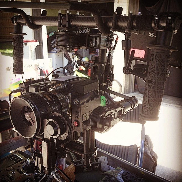 MōVI M10 kitted with RED Dragon, Arri Ultra-prime, wireless follow focus and video.