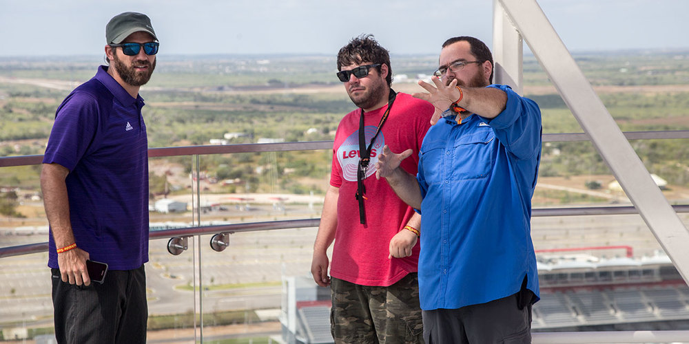Zach, Sam and Shaun scouting the Tower at Circuit of the Americas
