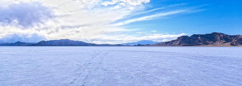Bonneville Salt Flats in Utah - that's not snow... it's salt!