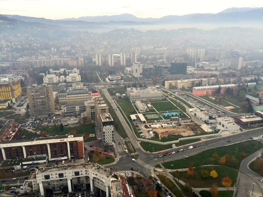 The view of Sarajevo from the top of the Avaz tower.