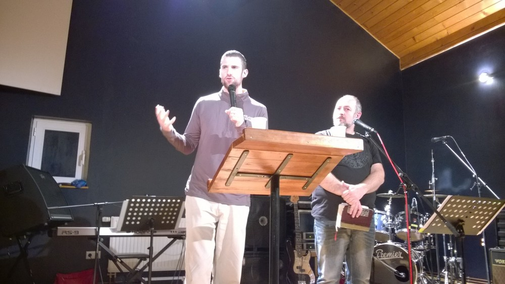 Nick preaches with Pastor Sasha translating at the Malta Church