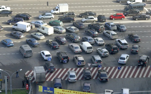 8-lane left-hand turn in Moscow, Russia.