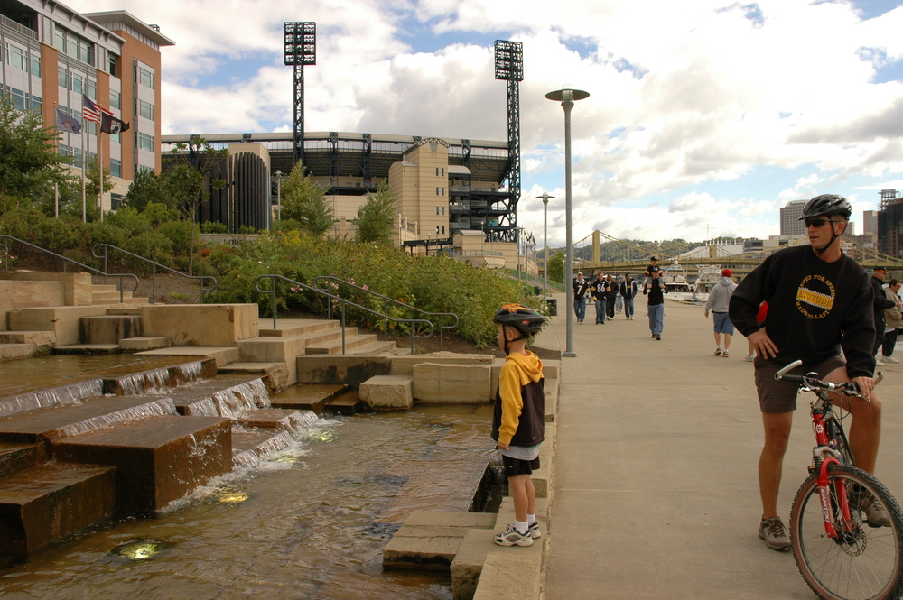 The riverwalk between PNC Park and Heinz Field, Pittsburgh, PA