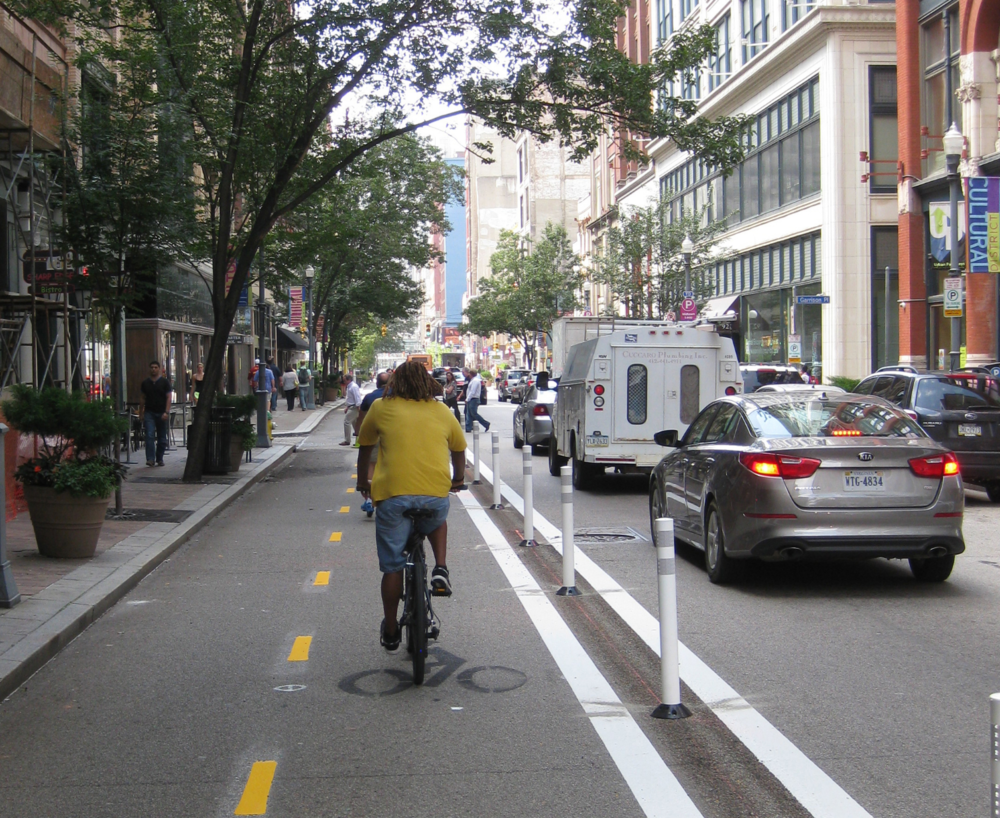 Bike lanes in Downtown Pittsburgh.