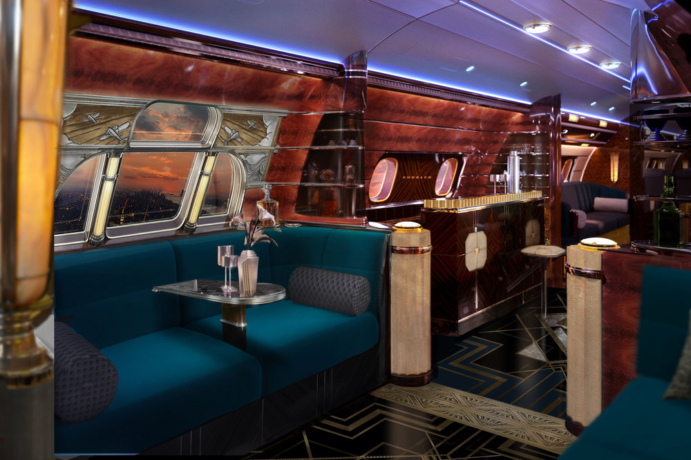 "Embraer's   Manhattan is making ""Gatsby"" great again , with an Art Deco interior that recalls the golden age of luxury and travel. ©EEJ"