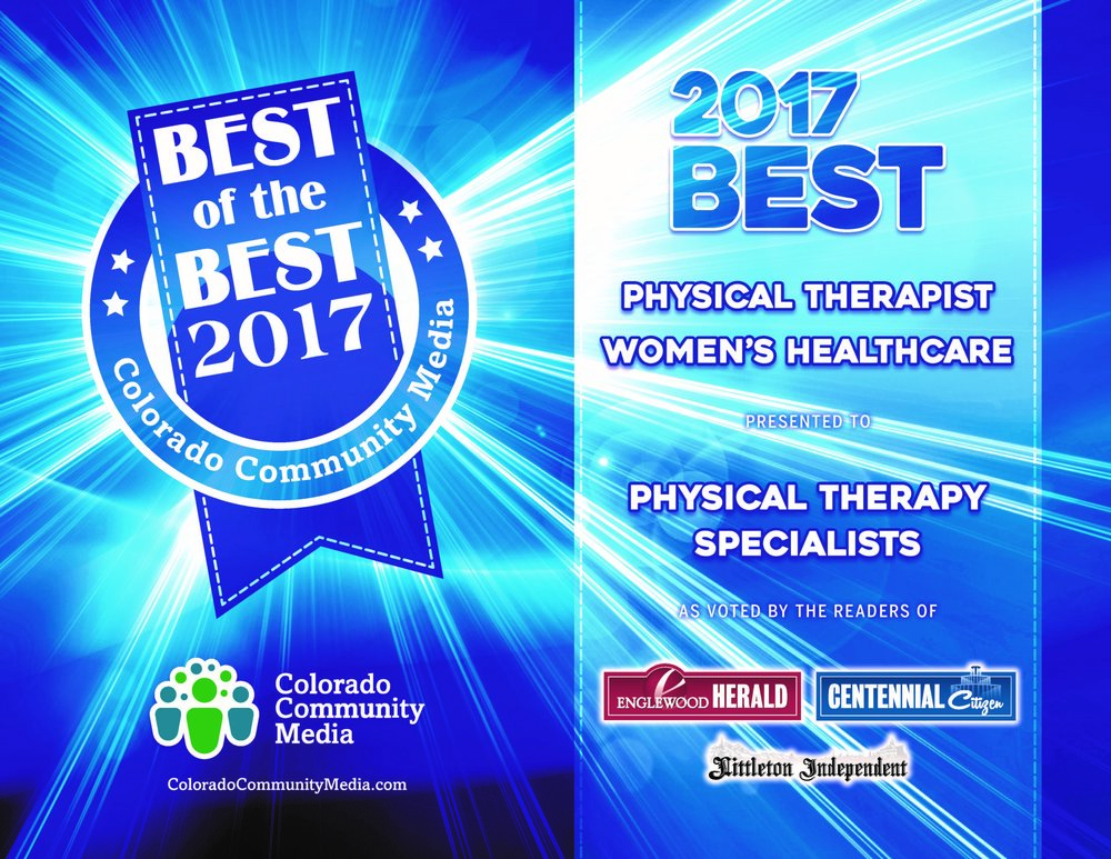 CONGRATULATIONS PTS!  Winner for Best Women's Health Services and Best Physical Therapy Littleton, Englewood and Centennial.