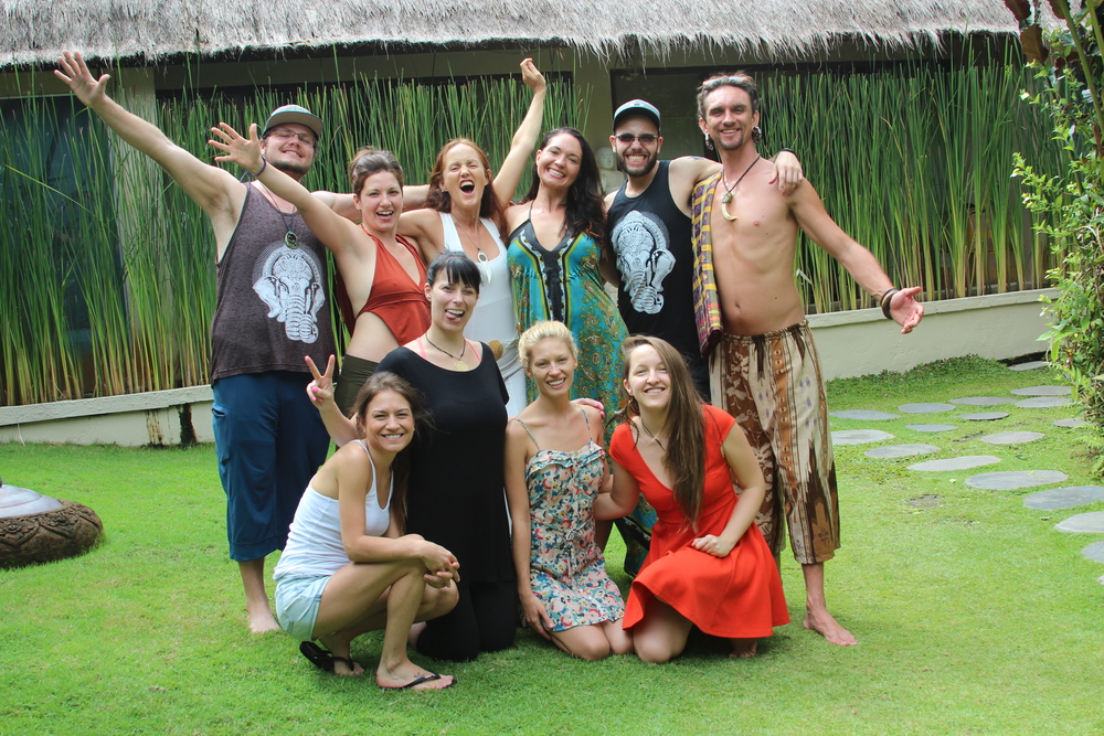 Our retreat family at the Villa Gaia in Ubud Bali, shortly after the ceremony