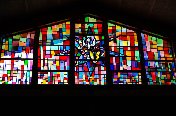 One of the beautiful stained glass windows at St. Anthony's
