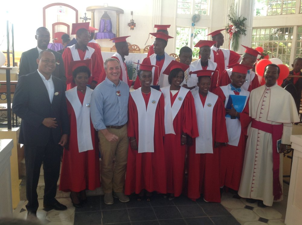 During graduation of bioscience students in Haiti. December 2017