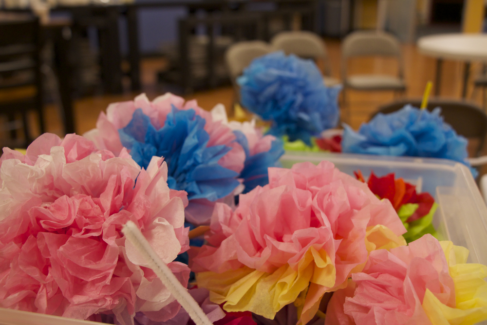 We learned how to make tissue paper flowers to give to the residents during our visit! Each flower had the verse Romans 8: 1-2 attached to it, so that we could share with the residents the good news that faith in Christ can set them free from the punishment of sin