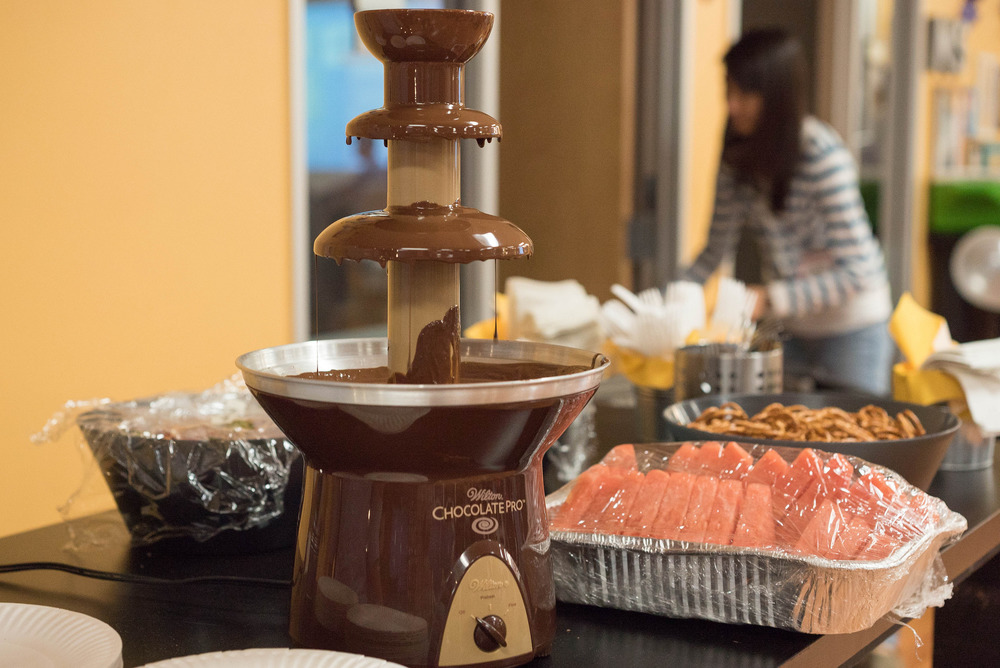 Yum...Within minutes, we devoured all the snacks and depleted this chocolate fountain of goodness.