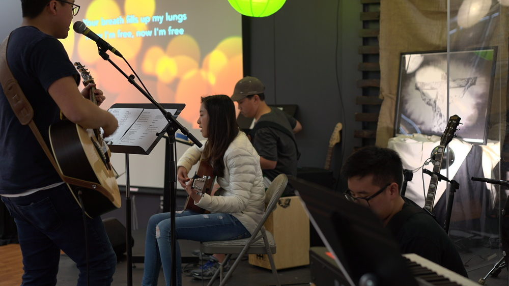 Our praise band works hard and practices every Sunday right before performing for our praise time.