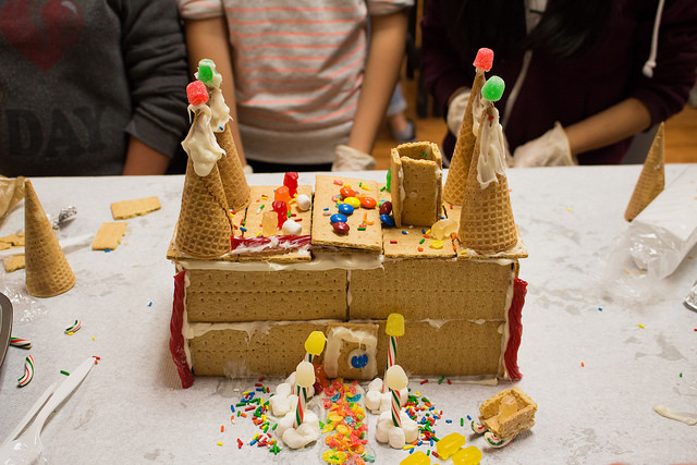 During our post-activity, we made some really impressive gingerbread houses like this one!