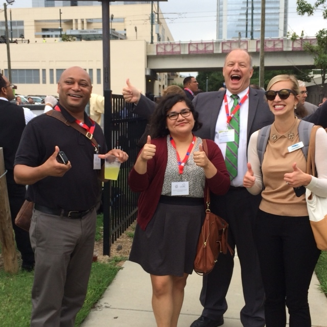 Corcoran team outside the Charlotte Convention Center in North Carolina following a fire drill during the ICMA Annual Conference, 2014.