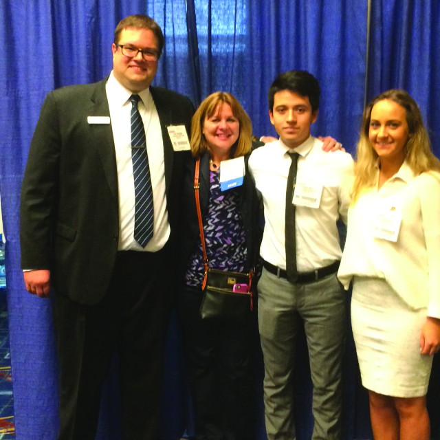 Onsite at the 2015 Annual Vascular Meeting! Pictured (L to R): Dan Corcoran, Debbie Walletin (Society for Vascular Surgery) and our Corcoran Summer 2015 interns Diego and Kiana.