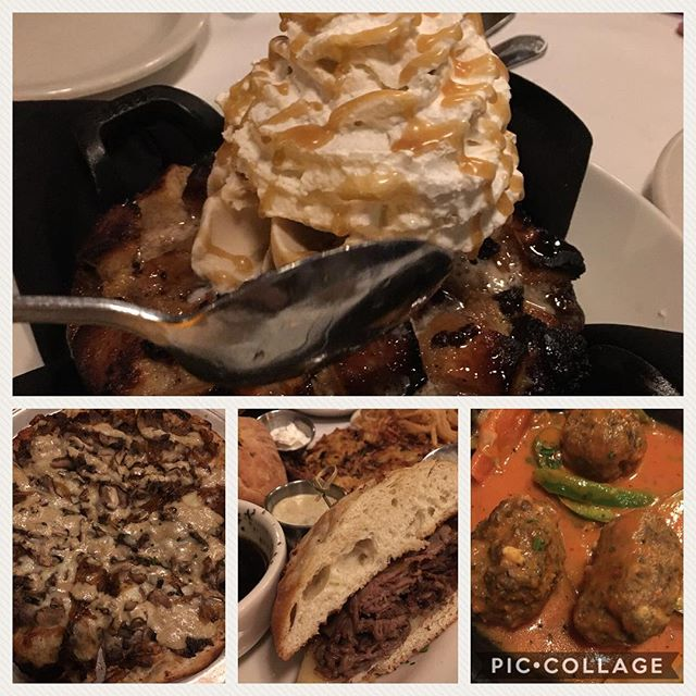 First show of the year deserves a fantastic meal #primeribsandwich #meatballs #primeribpizza #pizza #breadpudding #bourbonbreadpudding #saltedcaramel #harryandizzys  #visitindy
