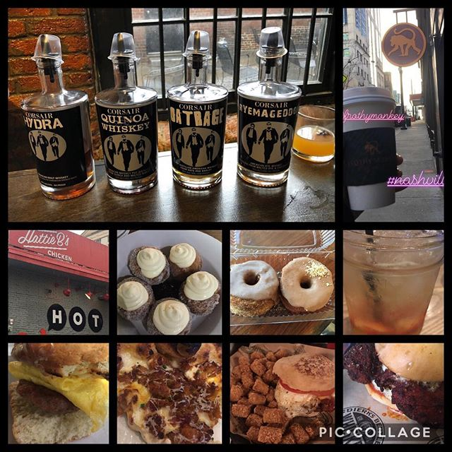 Nashville you have outdone yourself #whiskey #hotchicken #corsairdistillery #frothymonkey #hattiebs #bonuts #biscuits #biscuitlove #hotchickenpizza #thestillery #burgers #tatertots #thepharmacy #fivedaughtersbakery #donuts #nashville #visitnashville