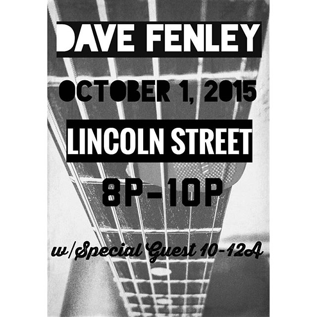 Hey people...we have the one and only  Dave Fenley Thurs October 1 from 8-10 over at Lincoln Street. Please come out and support our Nashville buddy...then stick around for a special guest from 10-midnight. See you guys there!  111 South Lincoln St FBG TX  #davefenley #americasgottalent #lincolnstwinemarket #visitfredericksburgtx #music #texasmusic