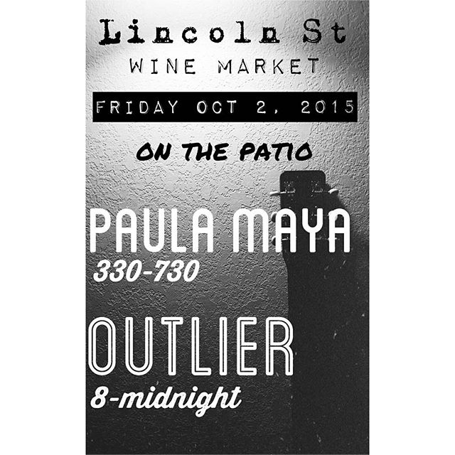 Tonight on the patio we have Outlier from 8-midnight @outlier_tx. Right now is Paula Maya till about 730. Come on out and enjoy a grewt evening of music, wine, beer, cheese and cigars.  111 South Lincoln St in #fredericksburgtx  #wine #music #visitfredericksburgtx #tourists #cigars #lincolnstwine #whattodoinfredericksburg