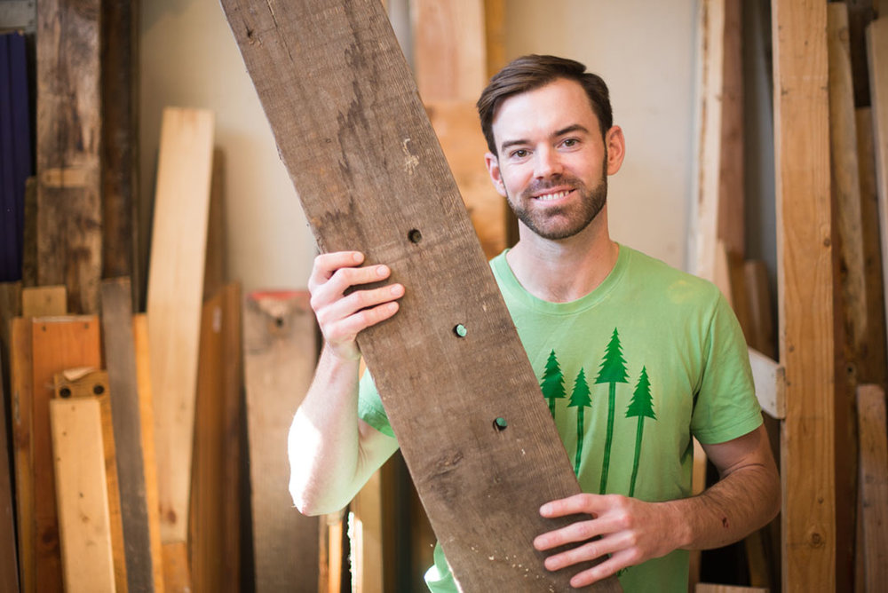 "Kyle - ""I look for raw materials like reclaimed old-growth wood to make a memorable gift for family or friends."""