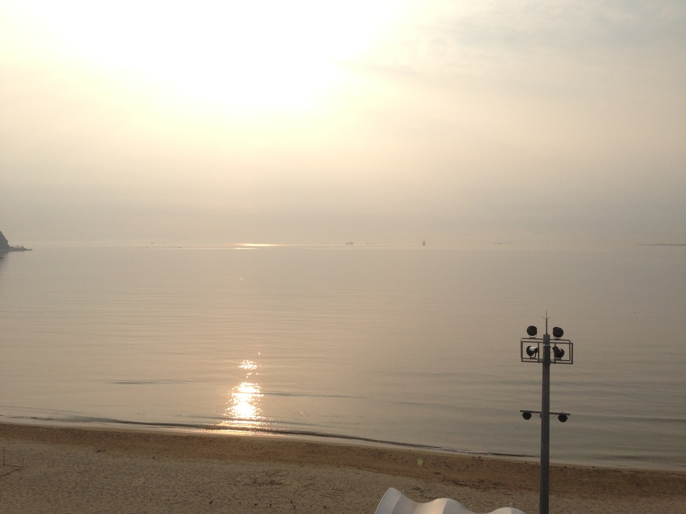 We were put up in a hotel the first night in Pohang and this is the view we woke up to. Perfect!