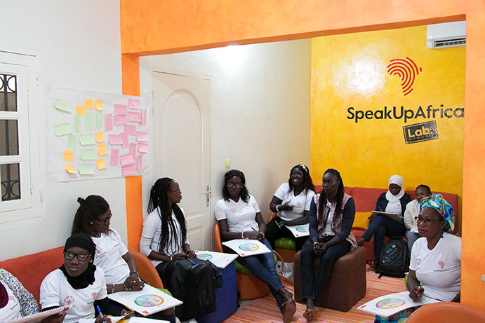 Coaches from Special Olympics Senegal participate in a menstrual health management (MHM) training on 5 April 2018 at the Speak Up Africa Lab in Pikine, Senegal. The workshop prepares the women to lead their own MHM awareness activities for people living with intellectual disabilities.