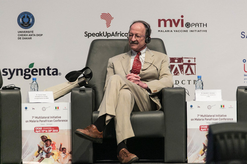 "Nobel Prize winner, Dr. Harold Varmus, on stage during the opening ceremony of the  7th Multilateral Initiative on Malaria (MIM) on 15 April 2018. Dr. Varmus' plenary session, ""The Spirit of Dakar"" was the first for the week-long conference."