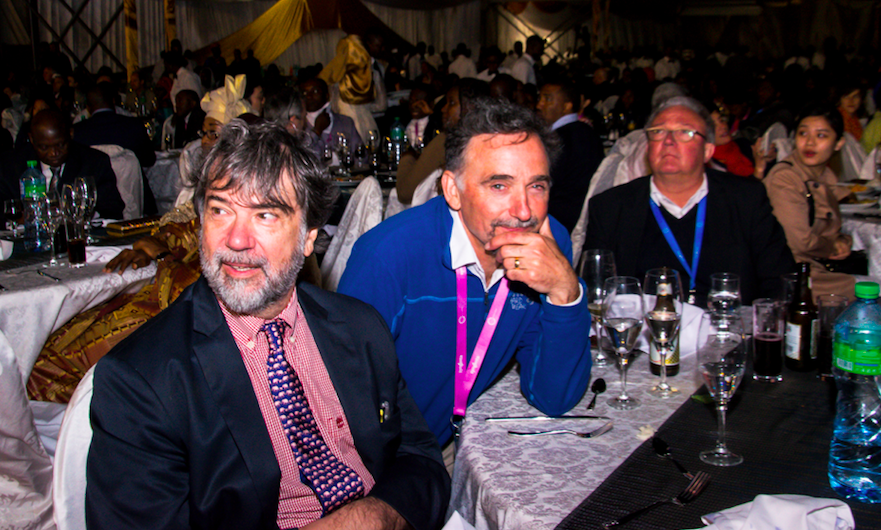 Dr. Pedro Alonso, Director of the WHO Global Malaria Programme, and other malaria champions enjoy the entertainment at the gala dinner.