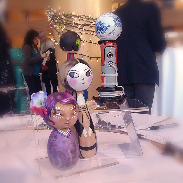 my doll at Nikkei Museum BLOOM auction last night! (w/ Jenn Brisson to the left and Brendan Tang to the right!)