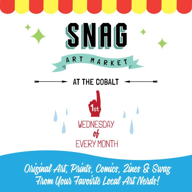 I'll have some things for sale @TheCobalt_van 's new #SNAG art market along with other local #Vancouver artists! Come check it out starts at 9pm Thanks to charasimatic SNAG host @aDrewYoung and to the super sick @ScottSueme for awesome market magic and poster design! more info on the fb event page