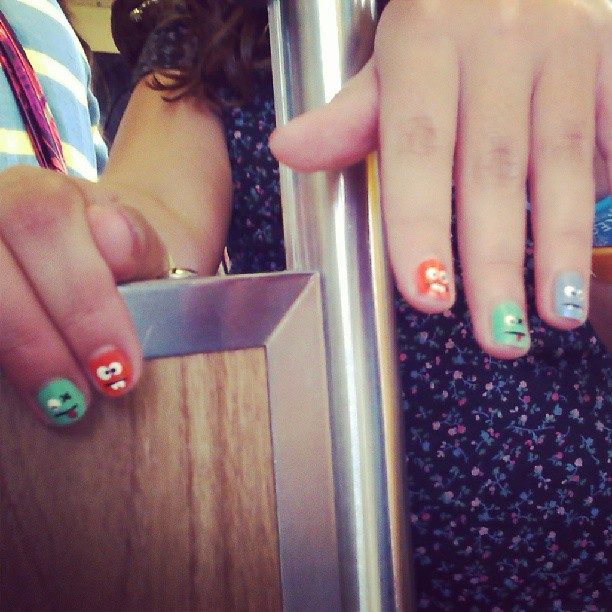 This girl on the L had a super cute monster manicure