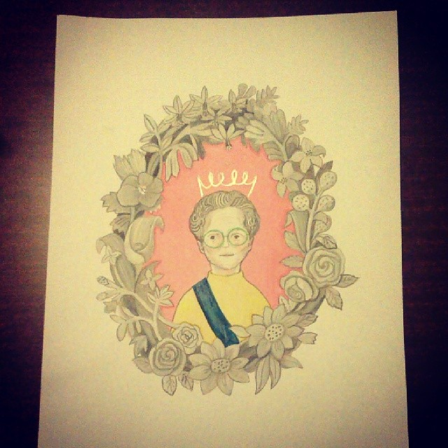 Got my #granny drawing sent from @sesamewild #seoul few days ago! I love her #portrait of her #gran :)