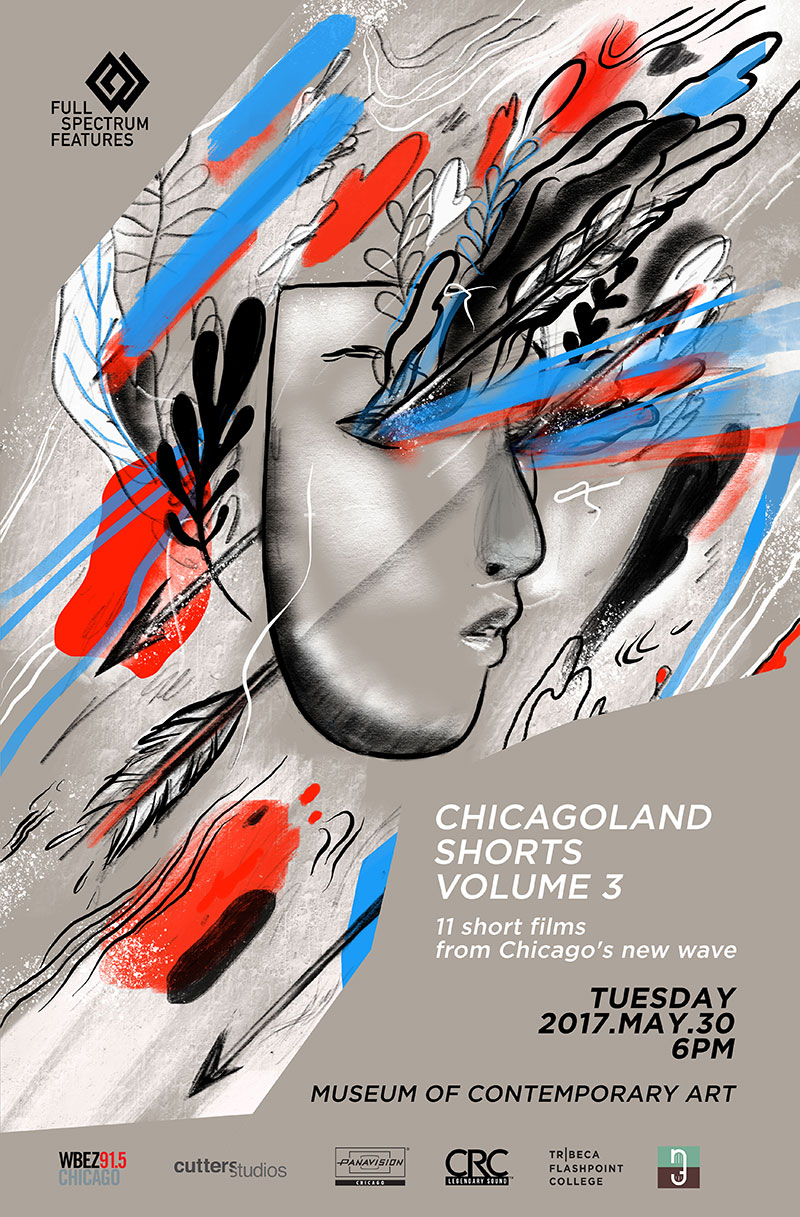 "Artwork and design for  Full Spectrum Features,  ""Chicagoland Shorts Volume 3"" world premiere screening at the Museum of Contemporary Art Chicago, 2017."