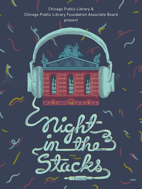 """Night In the Stacks"" invitation design for the Chicago Public Library and Chicago Public Library Foundation Associate Board, 2018."