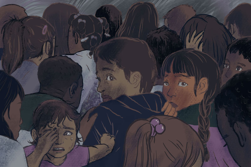 """Editorial illustrations for  ProPublica Illinois  """" As Months Pass in Chicago Shelters, Immigrant Children Contemplate Escape, Even Suicide """" by Melissa Sanchez, Duaa Eldeib, and Jodi S. Cohen, 2018. AD Vignesh Ramachandran, Hannah Birch CD David Sleight.  Co-published in  Mother Jones    """"   As Months Pass in Chicago Shelters, Immigrant Children Contemplate Escape and Even Suicide """""""