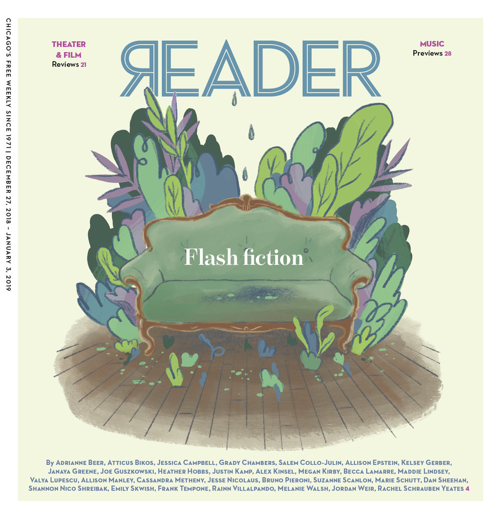 "Editorial cover and spot illustrations for  Chicago Reader ""Flash Fiction"" Issue , 2018. AD Sue Kwong.  10 stories shared below"
